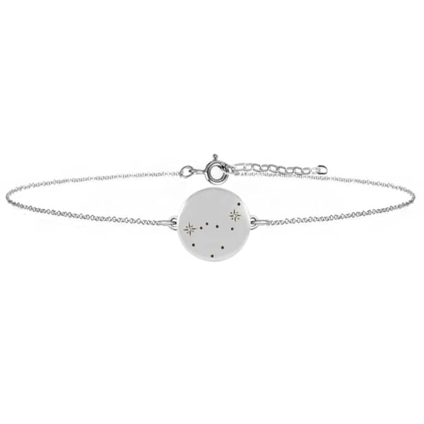 NO 13 Capricorn Zodiac Constellation Bracelet Diamonds & Silver