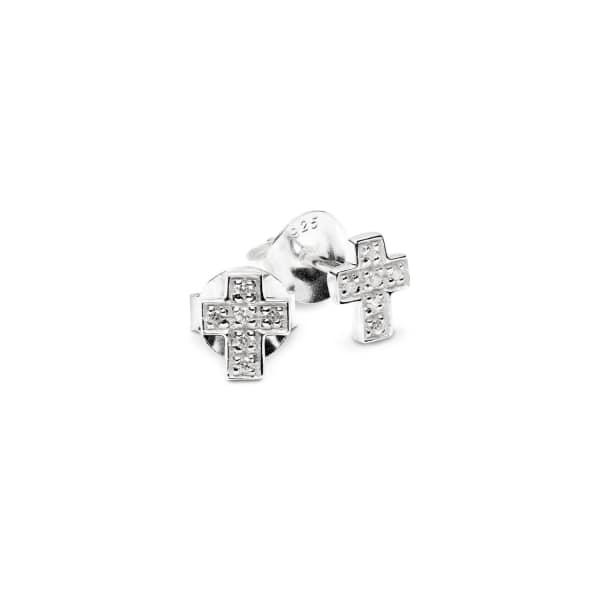 ISABEL LENNSE Mini Cross White Diamond Eearrings