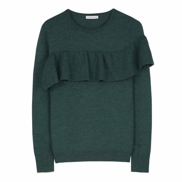 ILLE DE COCOS Merino Ruffle Sweater Evergreen