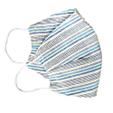 Pack Of 3 Reusable Striped Cotton Face Masks - Blue Stripes image