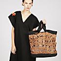 Alizee Large Floral Raffia Tote Bag In Brown image