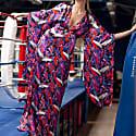 Silk Crane Print Kimono Dress image