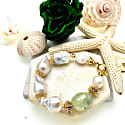 Baroque Freshwater Pearls With Oliven Gemstones Bracelet image