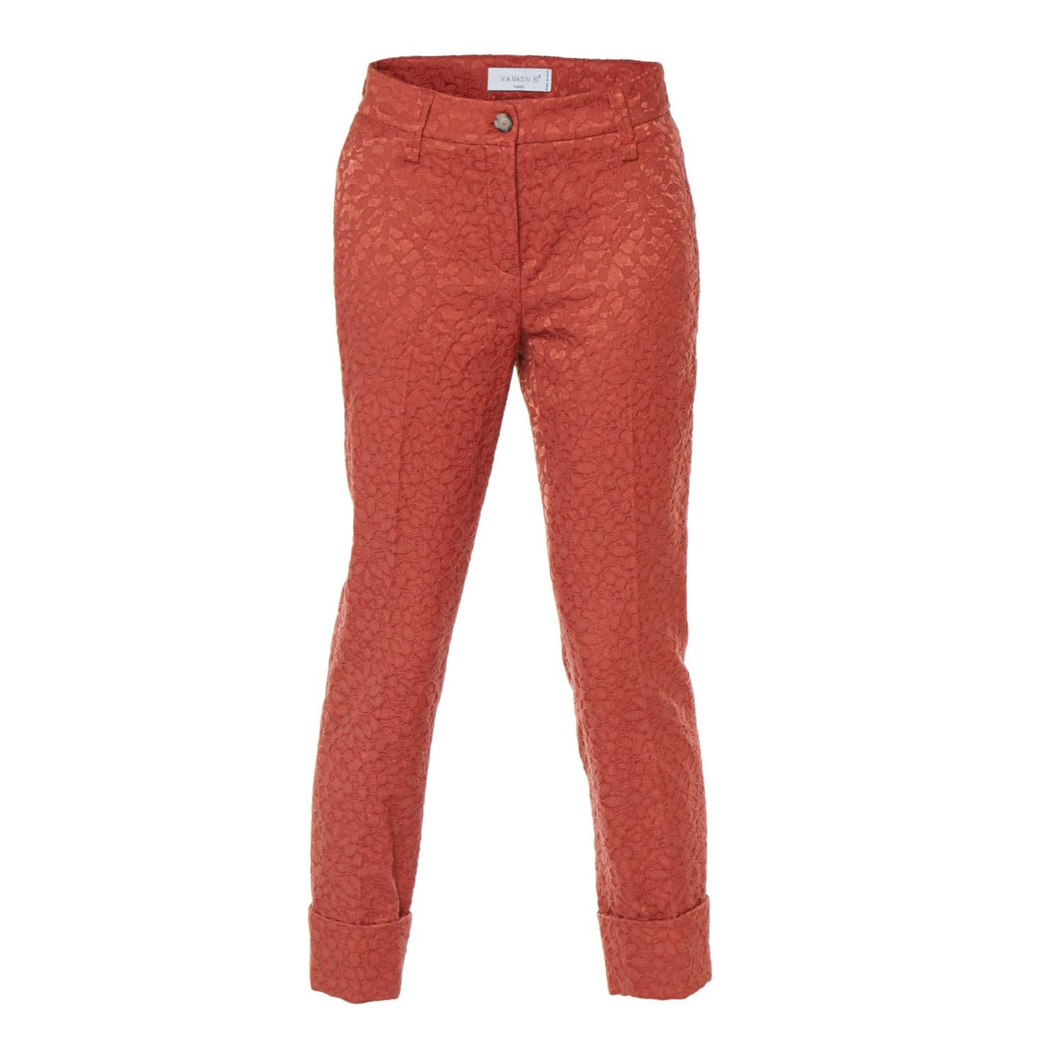 4263cd1b Terracotta Cropped Cotton Jacquard Trousers | Via Masini 80 | Wolf ...