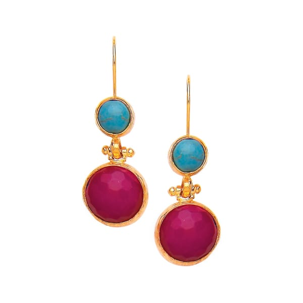 OTTOMAN HANDS Turquoise & Hot Pink Agate Two Stone Earrings