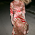 Silk Dress In Red & Gold image