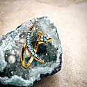 Moon & Star Ring Gold Turquoise image