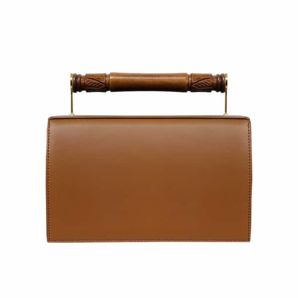 AEVHA LONDON Helve Clutch In Tan With Wooden Handle
