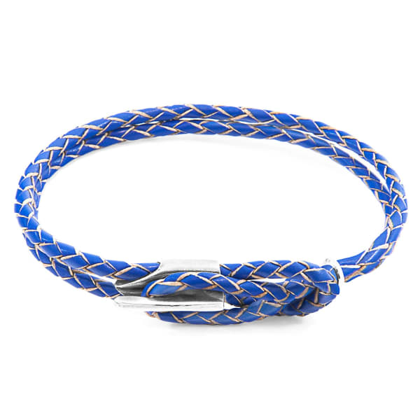 Anchor & Crew Bracelets Royal Blue Padstow Silver & Braided Leather Bracelet