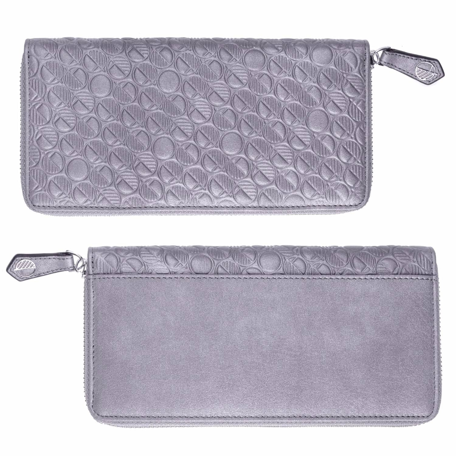 e1f0ab7b0134 Luxury English Leather Ladies 12 Card Zip Around Purse   Wallet in Silver  image