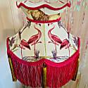 Safari Print Crown Lampshade With Pink Fringe & Gold Tassels image