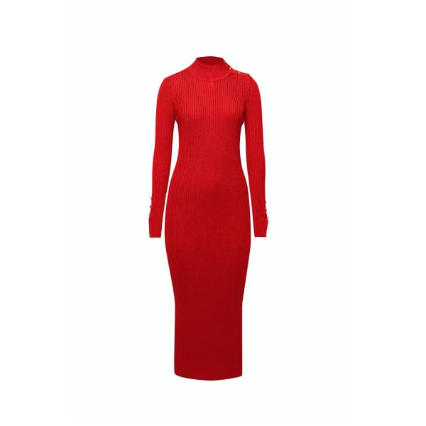 RUMOUR LONDON Adriana Maxi Ribbed Wool Dress In Scarlet in Red