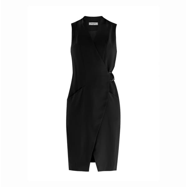 Collarless Tuxedo Wrap Dress With Side Belt In Black