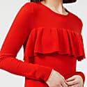 Merino Ruffle Sweater Tomato Red & Gold image
