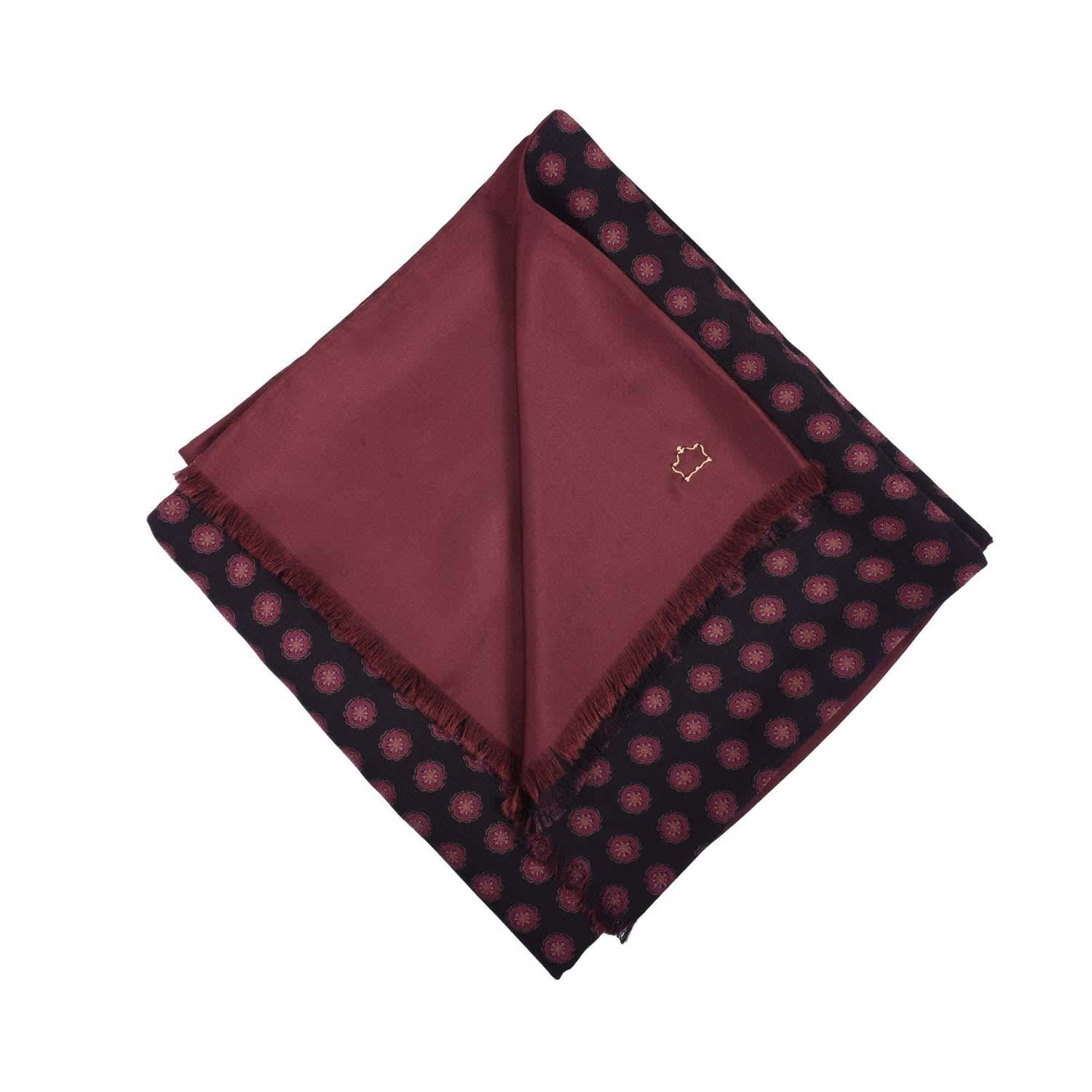 Dark Brown Burgundy Wool and Silk Scarf by Serà Fine Silk