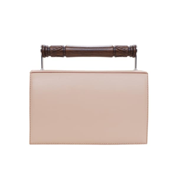 AEVHA LONDON Helve Clutch In Taupe With Wooden Handle