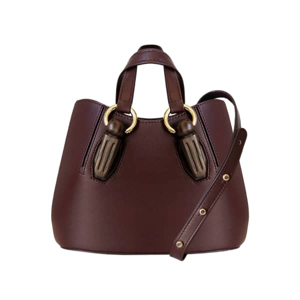 AEVHA LONDON Mini Garnet Tote In Mulberry With Wooden Hardware