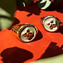 Croisette Signet Ring Vermeil - Kaki Green Enamel image