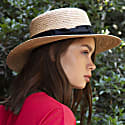 Womens Classic Boater Straw Hat image