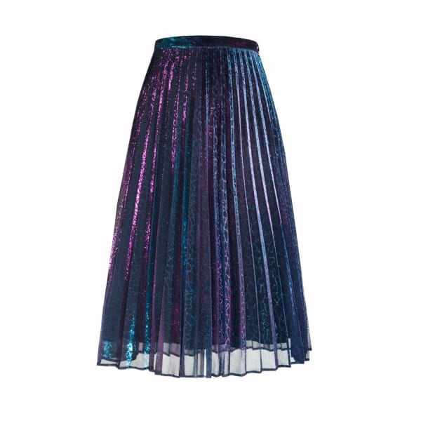 Lola Pleated Midi Skirt In Blue Chameleon (L) by Diana Arno