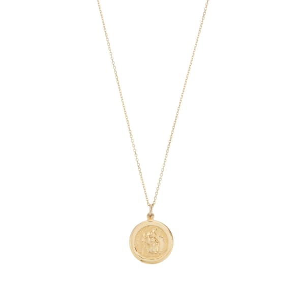 LILY & ROO Small Solid Gold St Christopher Pendant Necklace