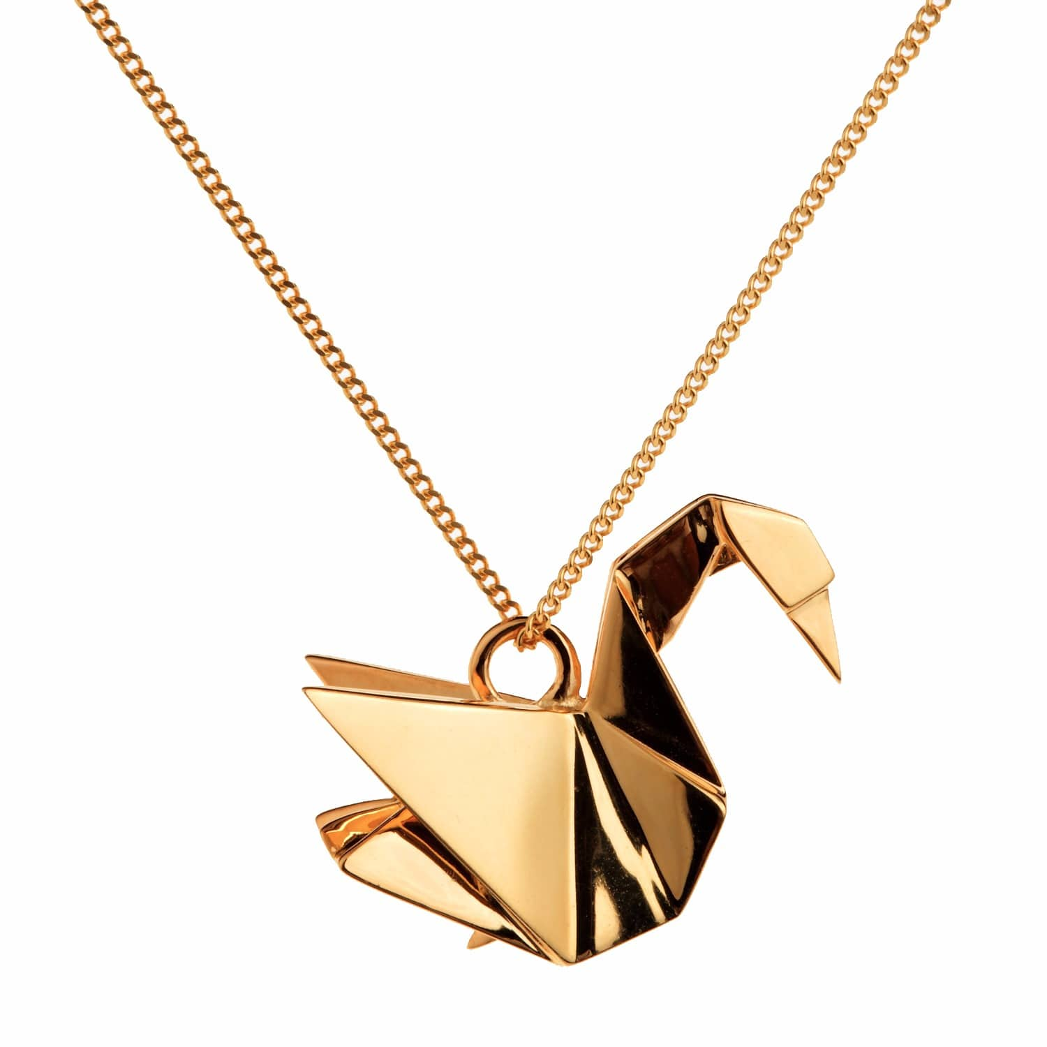 Swan Necklace Gold Origami Jewellery Wolf Badger