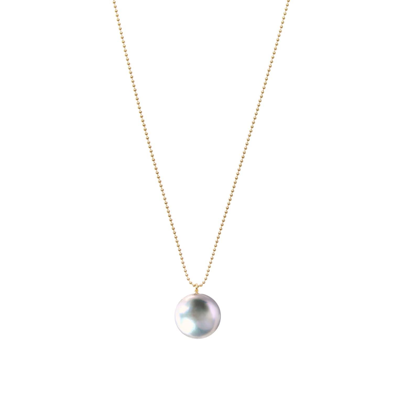 5cef8d1351cfa Orbis Grey Pearl Pendant Necklace Gold by ORA Pearls