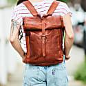 Vida Vintage Leather Roll Top Backpack image