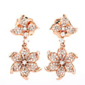 Flower Dangle Earring With Pave Diamonds In 18K Rose Gold image