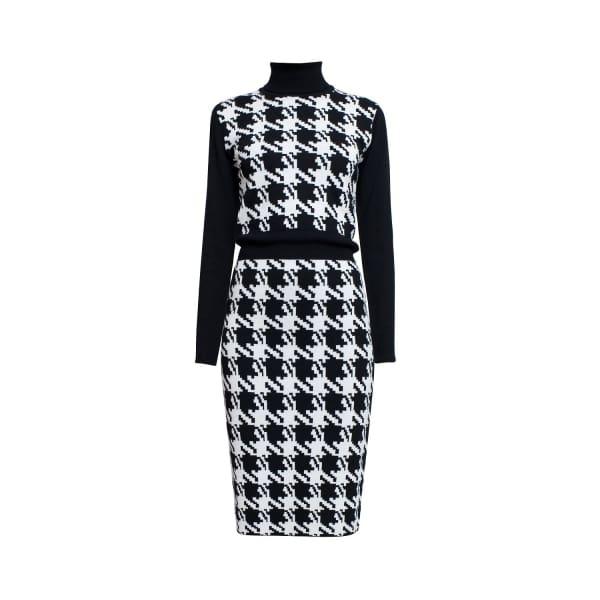RUMOUR LONDON Lina Houndstooth Merino Wool Knitted Dress