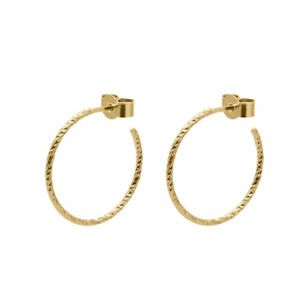MYIA BONNER Gold Medium Diamond Hoop Earrings
