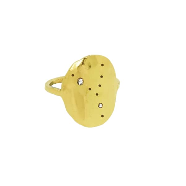 YVONNE HENDERSON JEWELLERY Taurus Constellation Ring With White Sapphires Gold