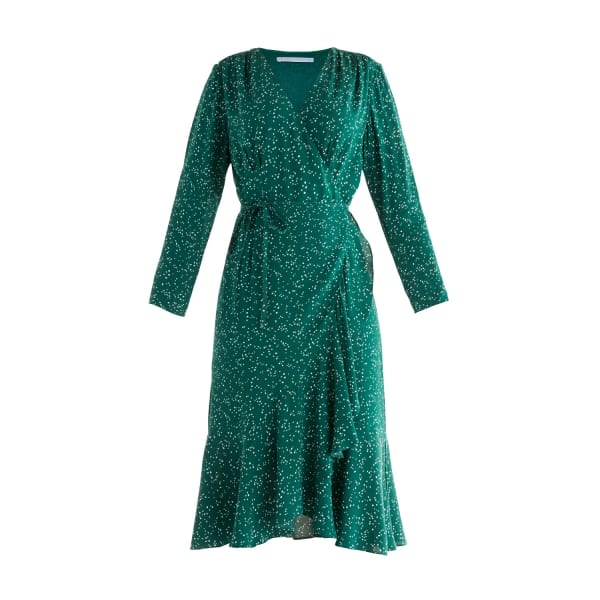 Paisie Speckle Print Wrap Dress In Green & White In Blue,green,multi,pink,silver,white