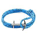 Blue Noir Admiral Anchor Rope & Silver Bracelet image