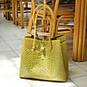 Toko Recycled Tote Bag In Mustard Yellow & White image