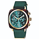Briston Clubmaster Classic Chronograph Tortoise Shell Acetate, Sunray Emerald Green Dial And Yellow Gold image