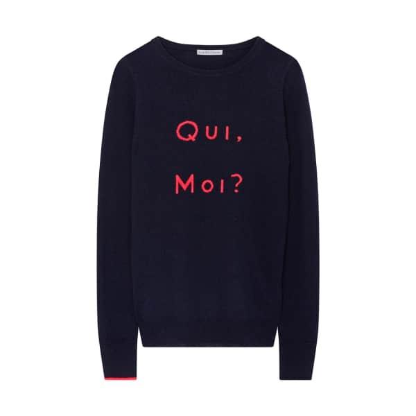 ILLE DE COCOS Qui Moi Merino Sweater Navy & Coral