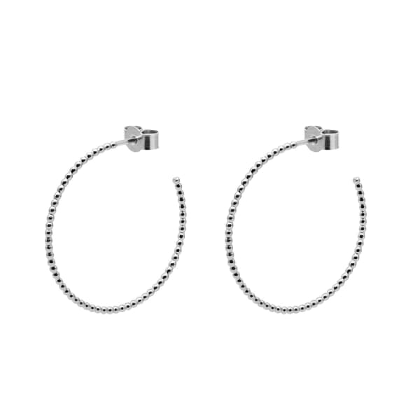 MYIA BONNER Silver Large Ball Hoop Earrings