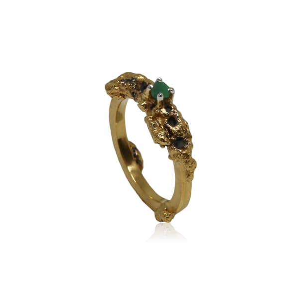 Karolina Bik Jewellery Out Of The Sea Growth Ring With Single Raw Emerald