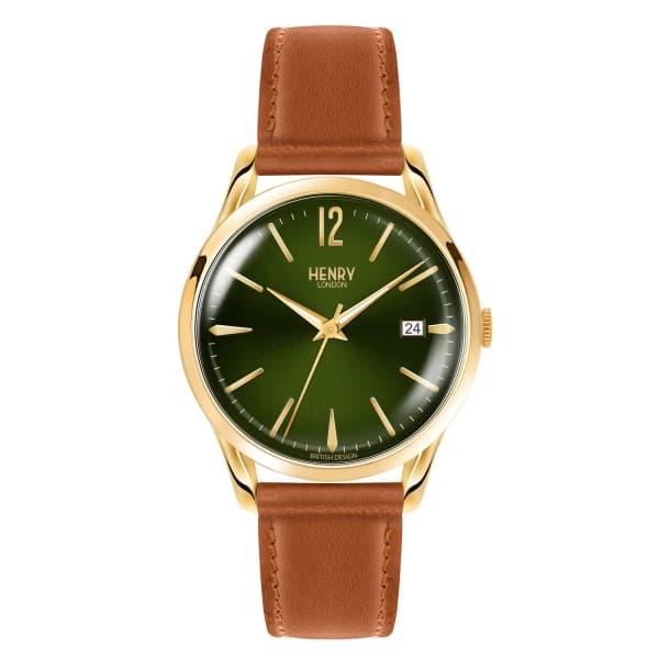 HENRY LONDON Unisex 39Mm Chiswick Tan Leather Moss Green Watch