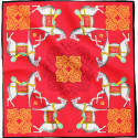 Kalighat Horse Classic Silk Scarf Collection Red & Yellow image
