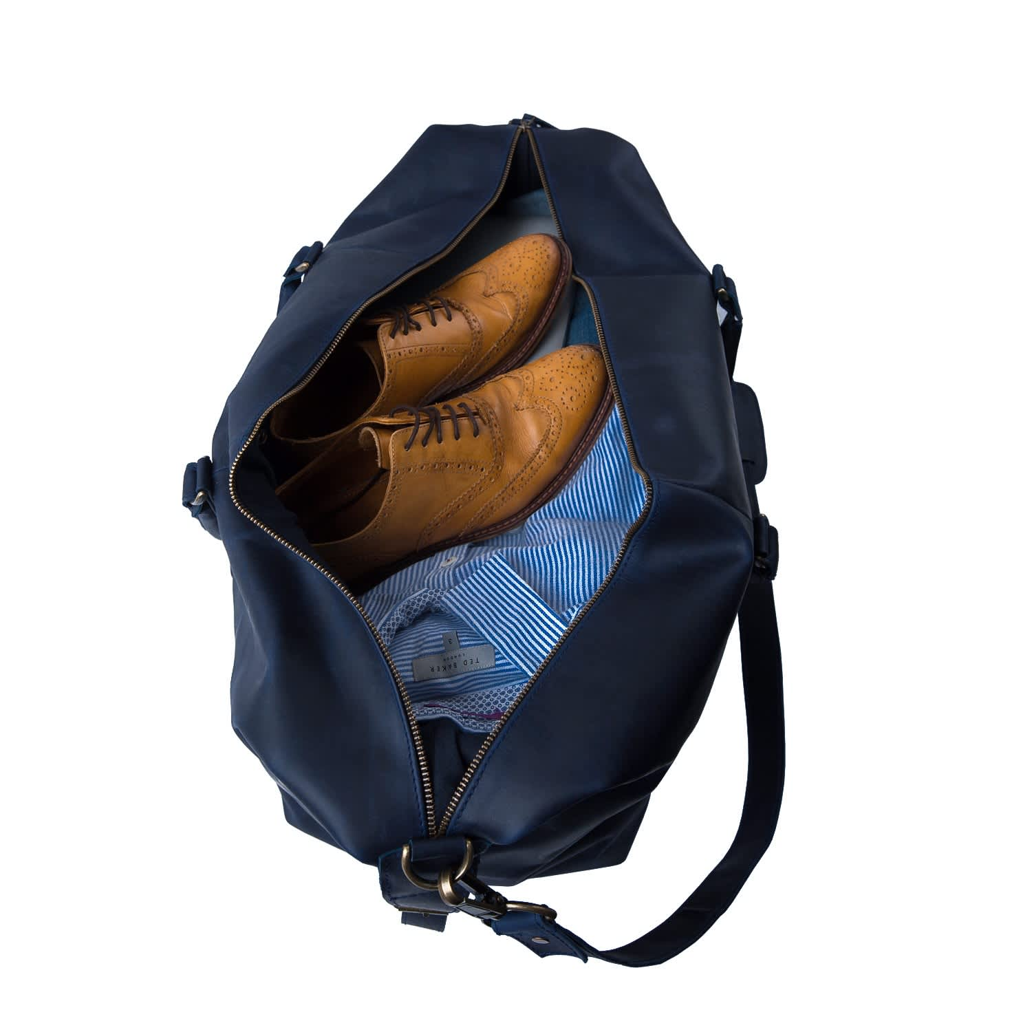 Leather Long Armada Duffle Weekend Holdall Bag In Navy image 8f3403b18db4