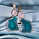 'Hold On' Rose Quartz Green Agate Gemstone Statement Earrings image