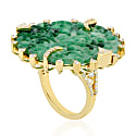 Carving Jade Cocktail Ring 18Kt Gold Diamond Jewelry image