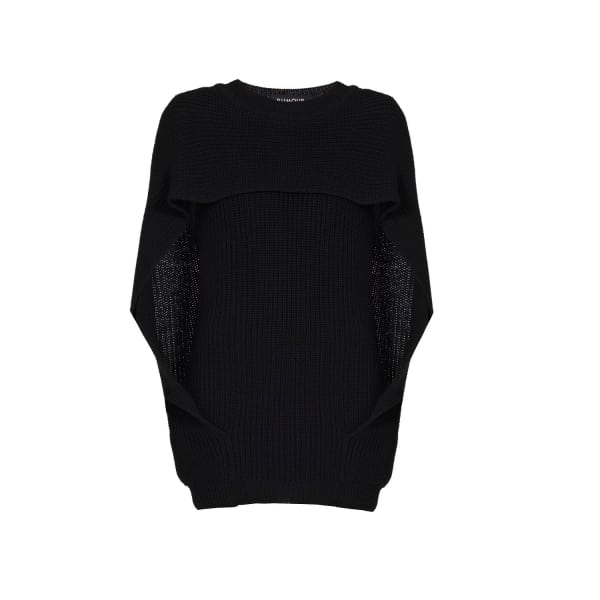 Cara Cape-effect merino wool ribbed knit sweater
