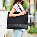 Canvas Leather Black Tote Bag image