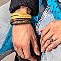Double Wrap Yellow Silver Leather Bracelet Stark Bracelet image