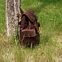 Military Style Genuine Leather Backpack In Russet Brown image
