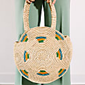 Raffia Circle Basket Bag In Lemon Teal & Avocado image
