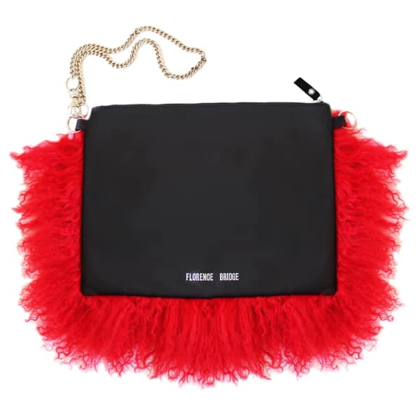 FLORENCE BRIDGE Fluffy Bianca Clutch Bag Red